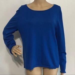 Talbots Pure Merino Wool Thin Blue Sweater XL